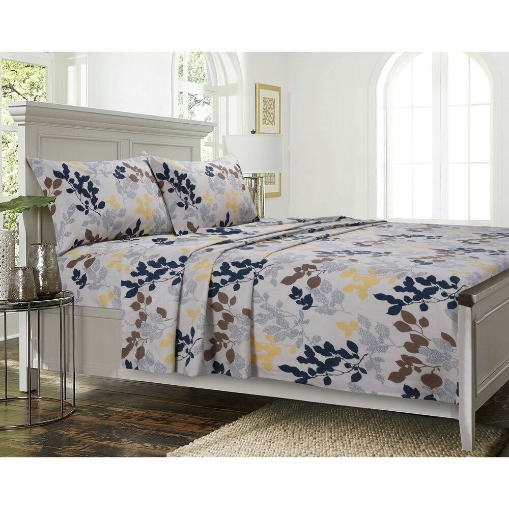 Barcelona Cotton Percale Leaf Printed Extra Deep Pocket