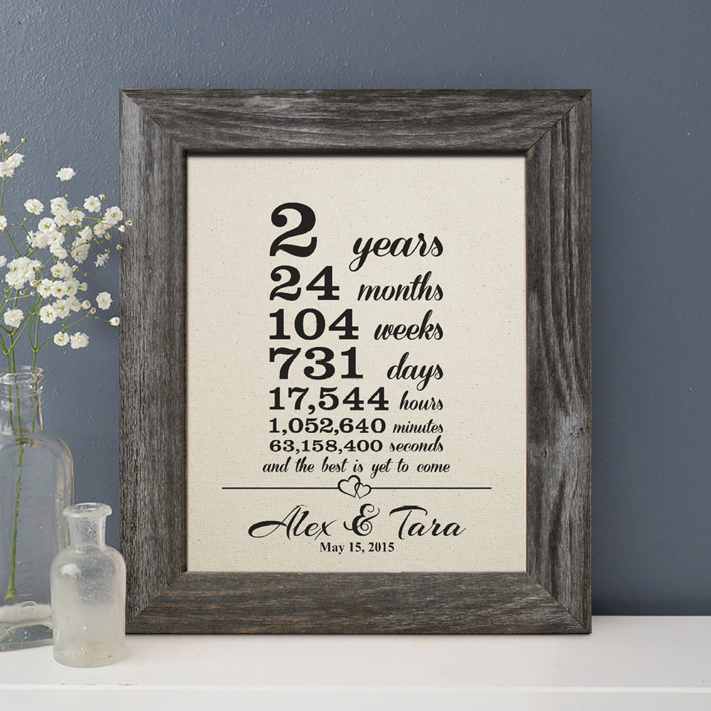 Gift For Second Wedding Anniversary: 2 Years Together Gift Cotton Print, 2nd Wedding
