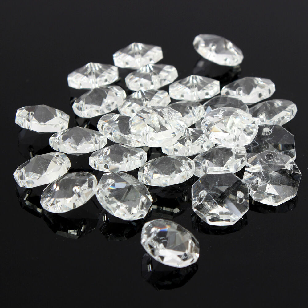 100pcs crystal glass octagonal beads chandelier light prisms decor pendant 14mm ebay - Chandelier glass beads ...