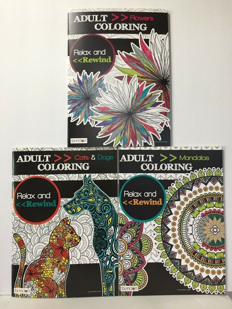 Coloring book for adults for pc - 3 Pc Bendon Relax Rewind Adult Coloring Books Patterns Mandalas Flowers Cats D Ebay