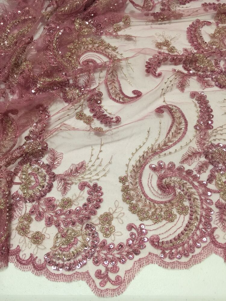 Rose gold embroidery sequins hand beaded lace fabric
