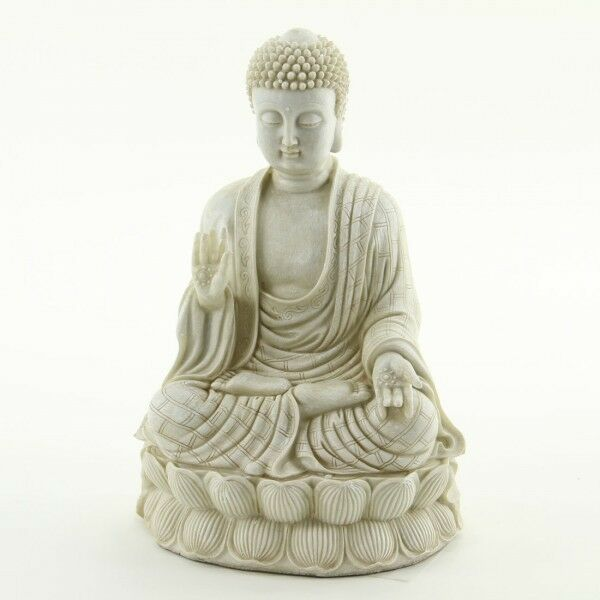 Zen meditating buddha statue white stone finish garden for Buddha decorations for the home uk