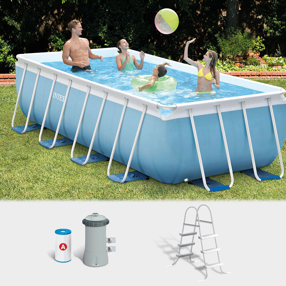 Intex frame pool set prism 300x175x80 cm pumpe schwimmbad for Pool aufblasbar eckig