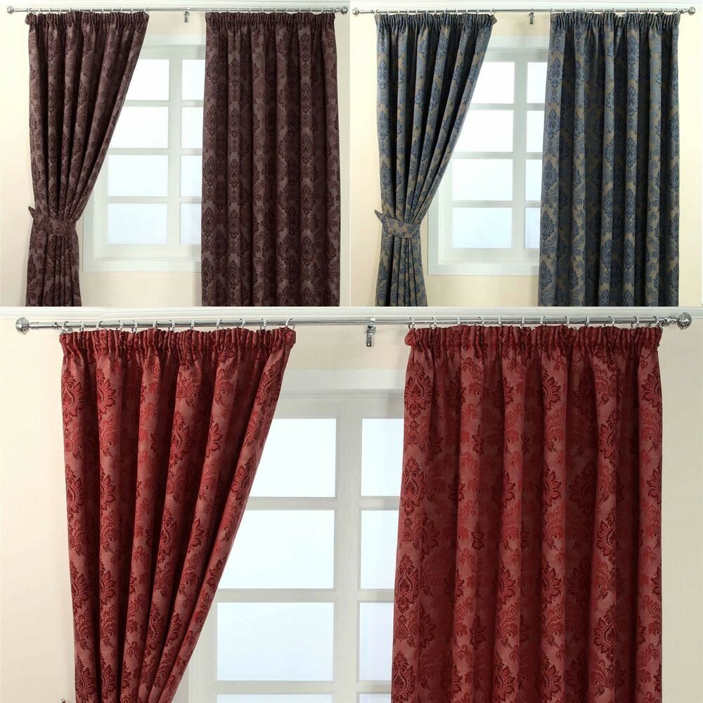 pencil pleat fully lined ready made jacquard damask. Black Bedroom Furniture Sets. Home Design Ideas