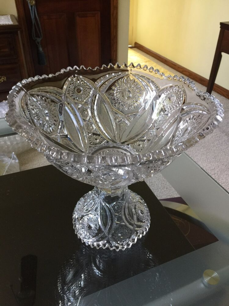 small crystal punch bowl and base vintage