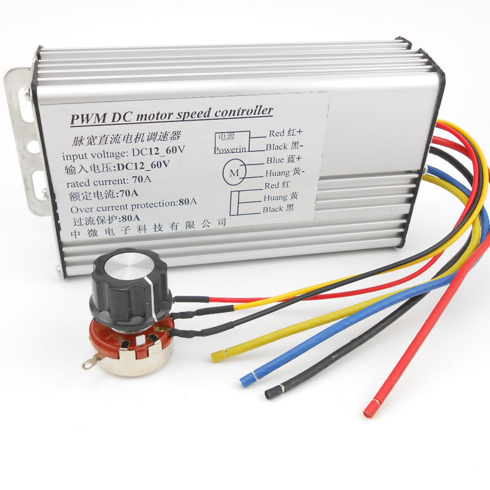 Dc 12v 60v 70a 4000w super power rectangle pwm motor speed for Speed control of dc motor
