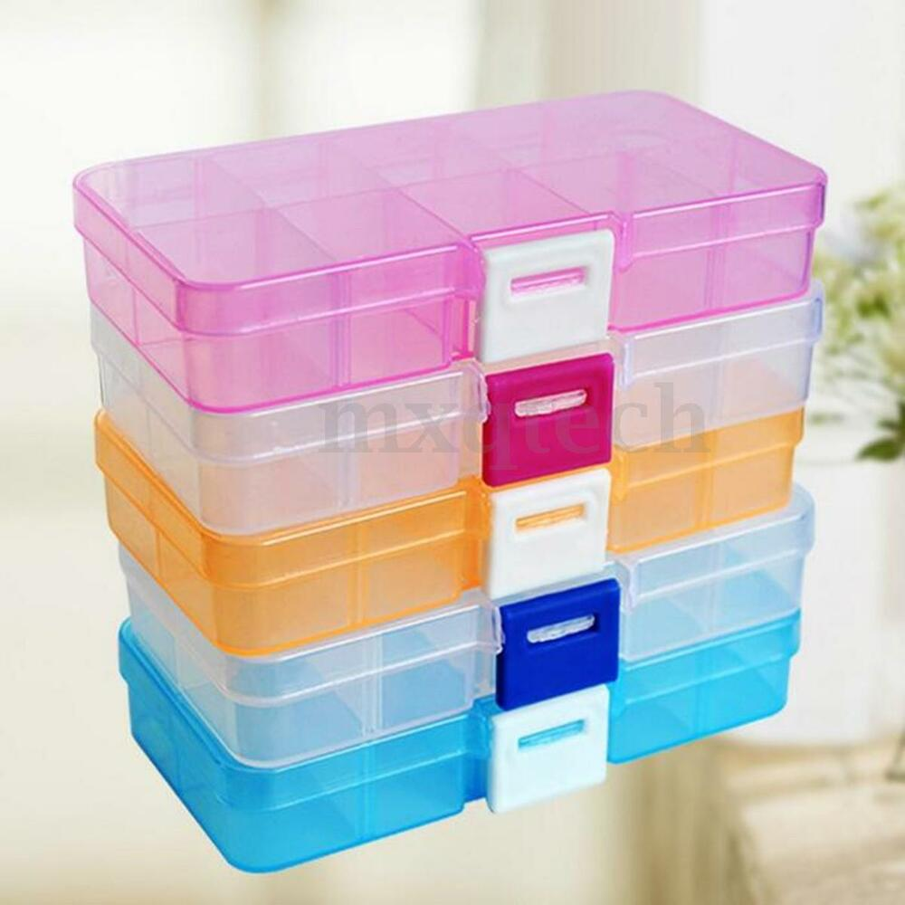 Jewellery Packaging And Bead Storage With: Adjustable 10 Compartment Plastic Storage Box Case Jewelry