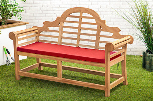 Details About Red Waterproof Cushion Pad Lutyens Teak Bench Garden Furniture Outdoor Seat