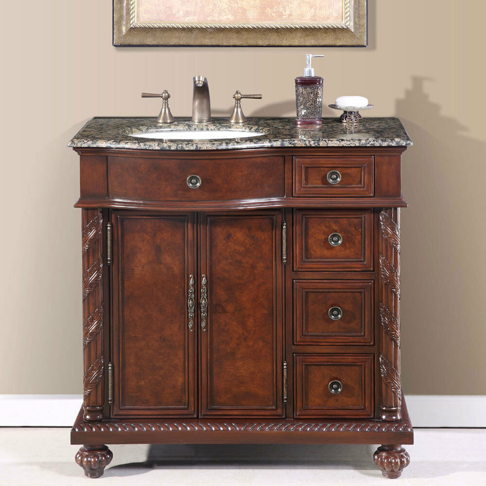 36 Inch Granite Stone Top Off Center Sink Bathroom Single