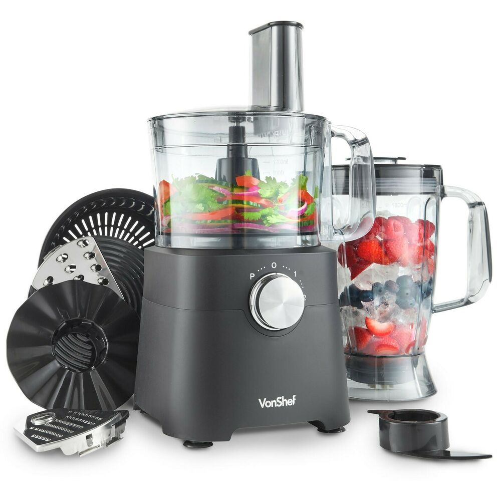 vonshef food processor juicer red blender compact mixer. Black Bedroom Furniture Sets. Home Design Ideas