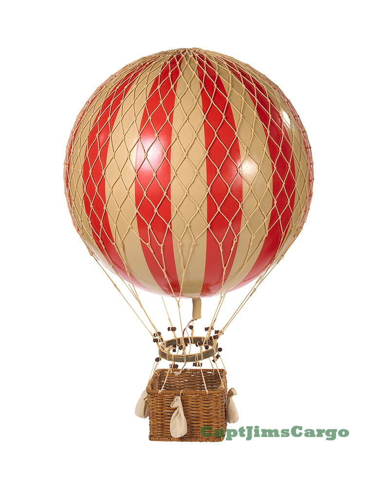 xl hot air balloon red white striped 17 hanging. Black Bedroom Furniture Sets. Home Design Ideas