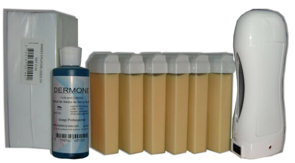 Berd'Huis,FranceKIT EPILATION SOLOR HOME - 6 RECHARGES CIRE ROLL-ON 100ml, BANDES, HUILE