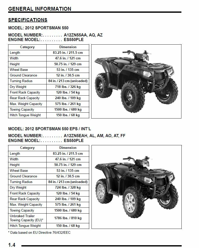 polaris 2012 atv sportsman 550 550 eps x2 touring service. Black Bedroom Furniture Sets. Home Design Ideas