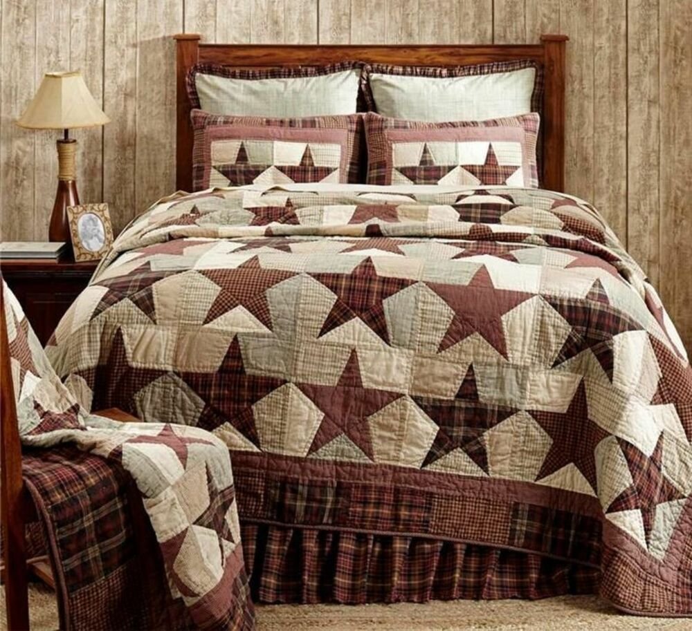 Western Country Plaid Star 3pc King Quilt Set Red