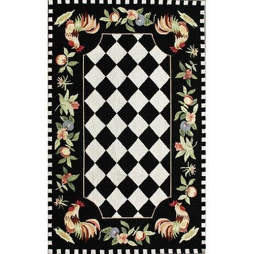 NuLOOM Hand-hooked Moroccan Rooster Checkered Wool Rug (3