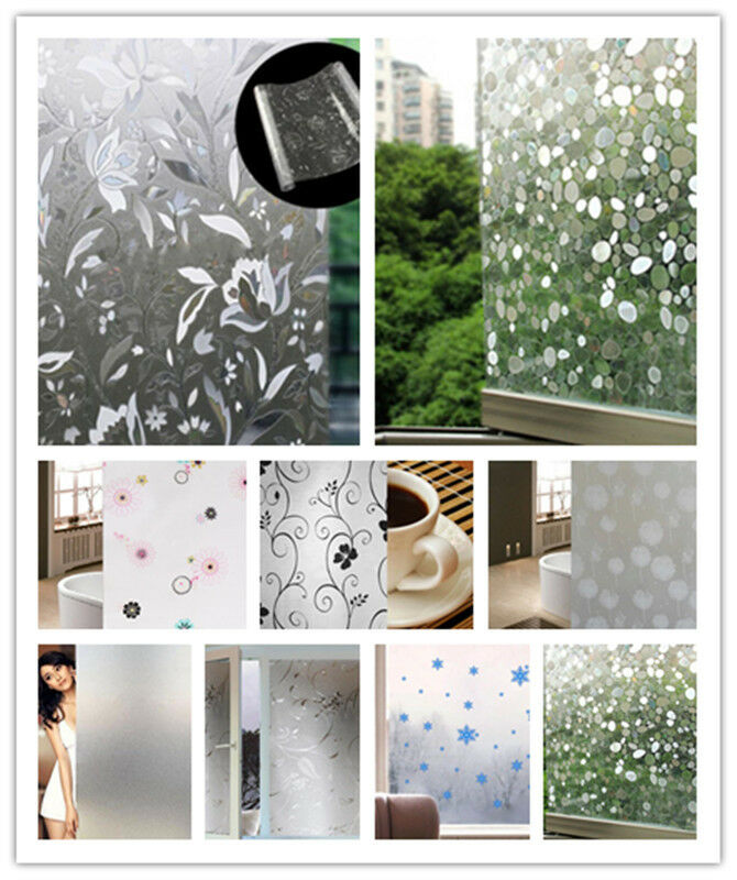45 100cm Frosted Privacy Home Bathroom Window Glass Static Adhesive Film Sticker Ebay