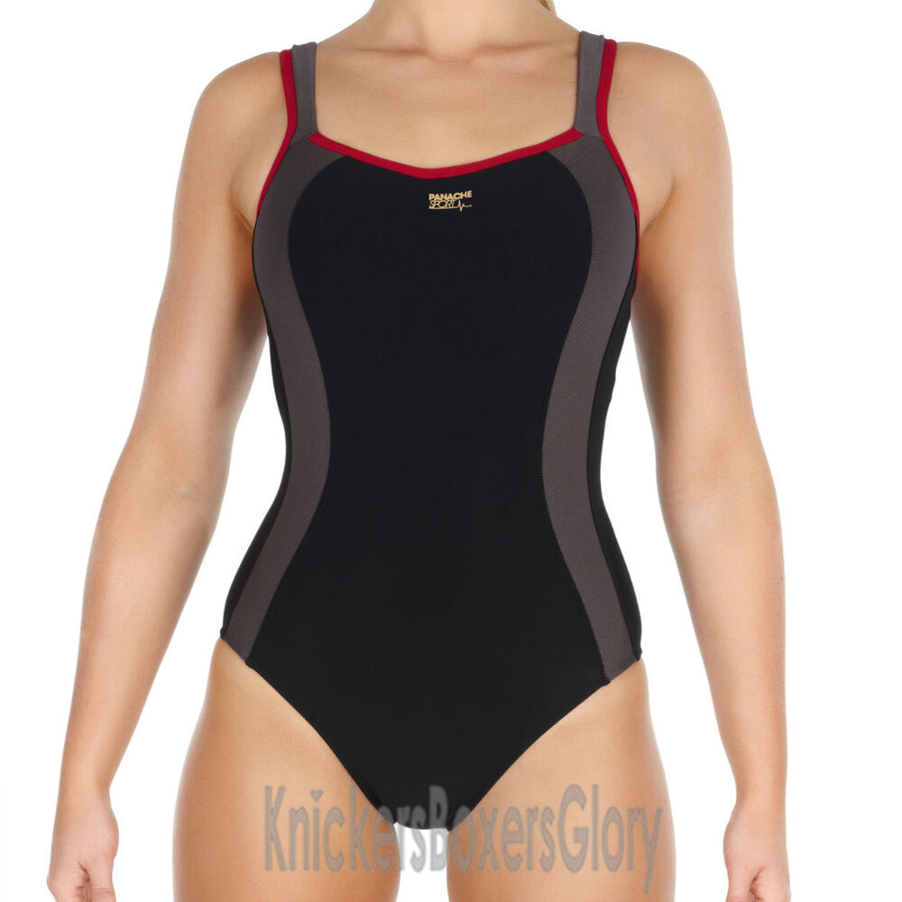7a5f21c14cd67 Details about Panache Sport Swimwear Underwired Swimsuit/Swimming Costume  Black 7340 NEW