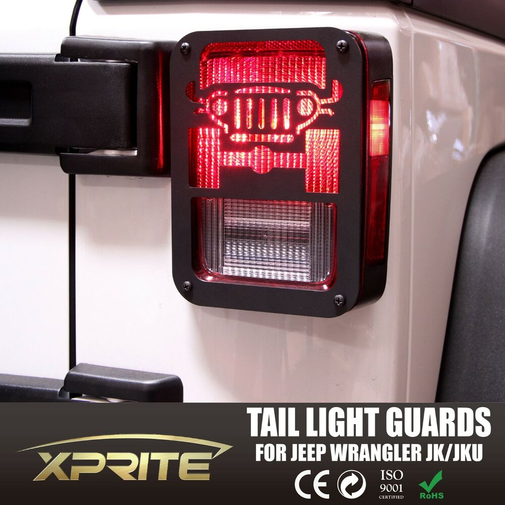Pair Black Rear Taillight Cover Guard With Jeep Logo 2007