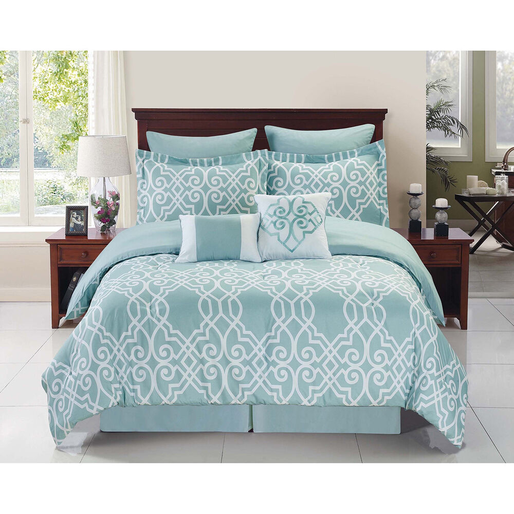 Dawson Blue White 6 8 Piece Reversible Comforter Set Ebay