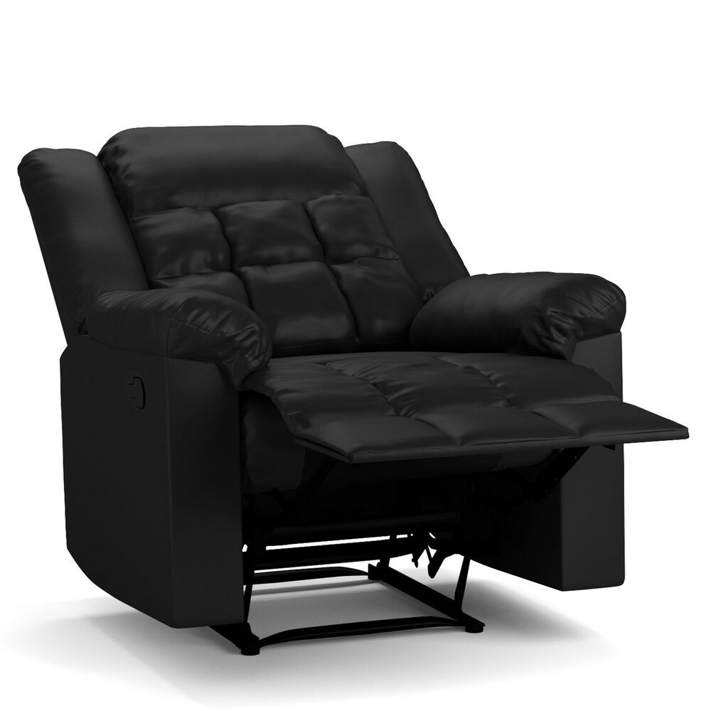 Prolounger Black Renu Leather Flat Wing Wall Hugger