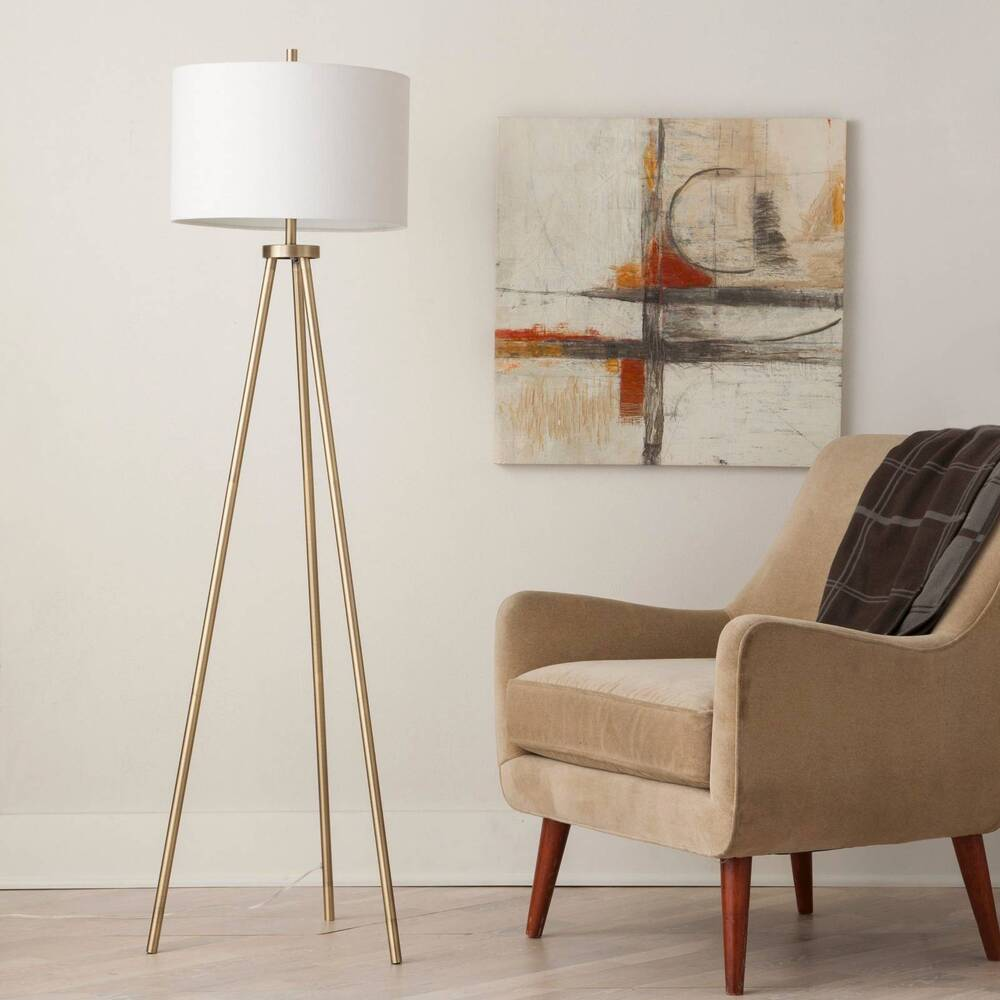tripod floor lamp antique brass threshold ebay. Black Bedroom Furniture Sets. Home Design Ideas