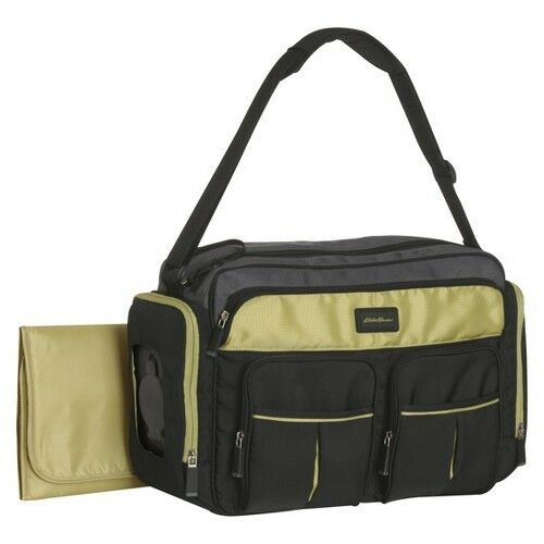eddie bauer easy access duffle diaper bag black lime ebay. Black Bedroom Furniture Sets. Home Design Ideas