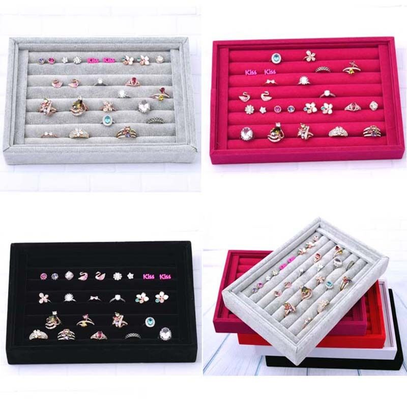 Velvet Jewelry Earring Ring Display Organizer Box Tray