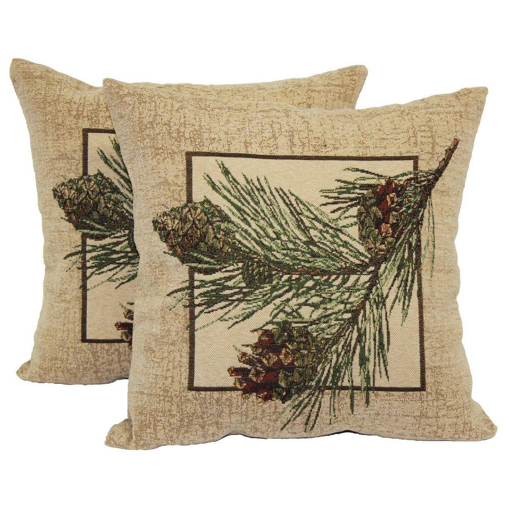 pine cone throw pillow 2 pack 14 x14 brentwood ebay. Black Bedroom Furniture Sets. Home Design Ideas
