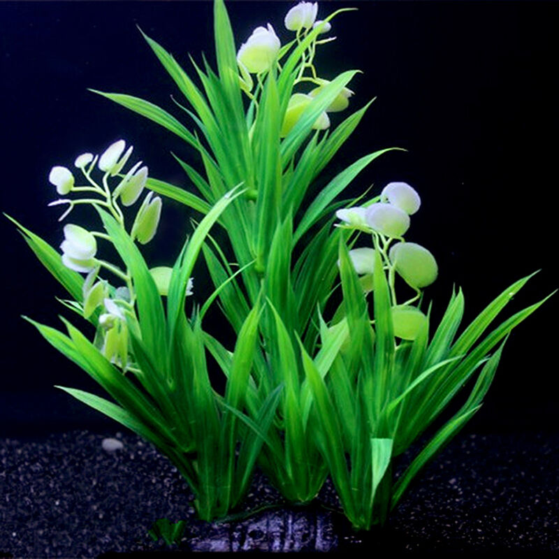 Artificial fake plastic green plant grass for fish tank for Artificial fish pond plants