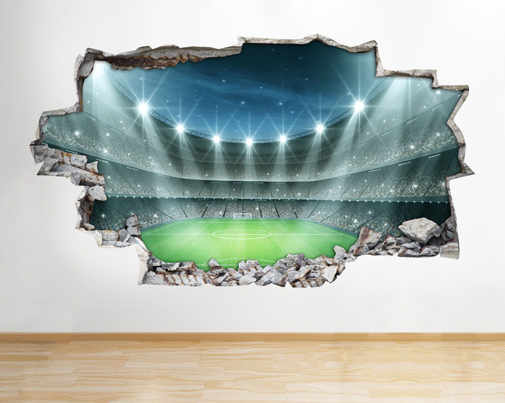 A135 football stadium boys bedroom wall decal poster 3d for Sticker mural 3d