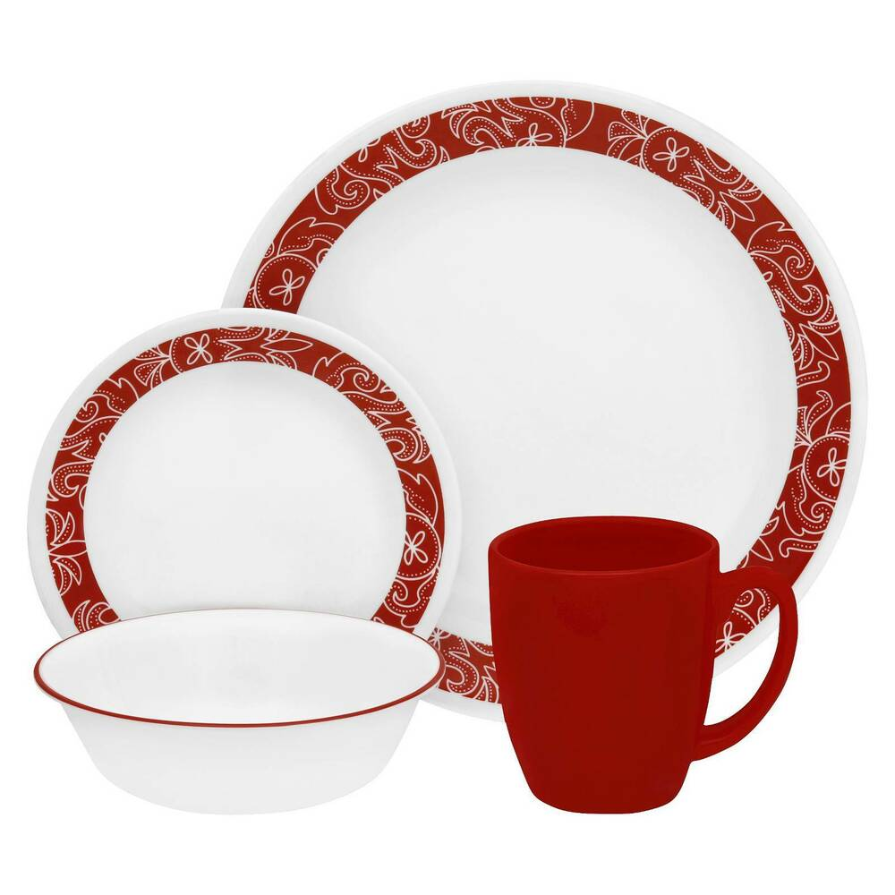 corelle livingware 16pc dinnerware set bandhani red ebay
