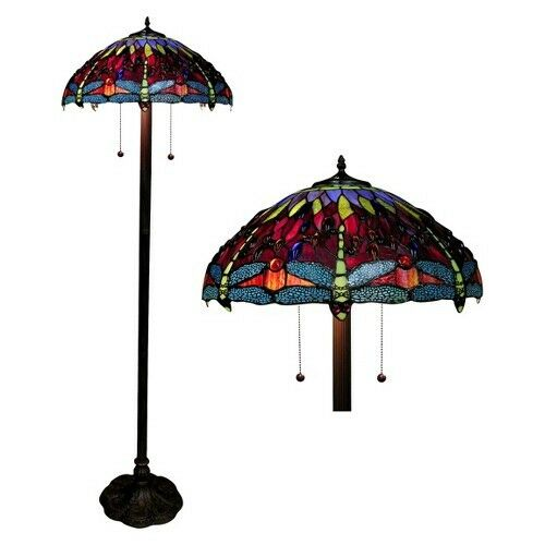 tiffany style dragonfly floor lamp amber ebay. Black Bedroom Furniture Sets. Home Design Ideas