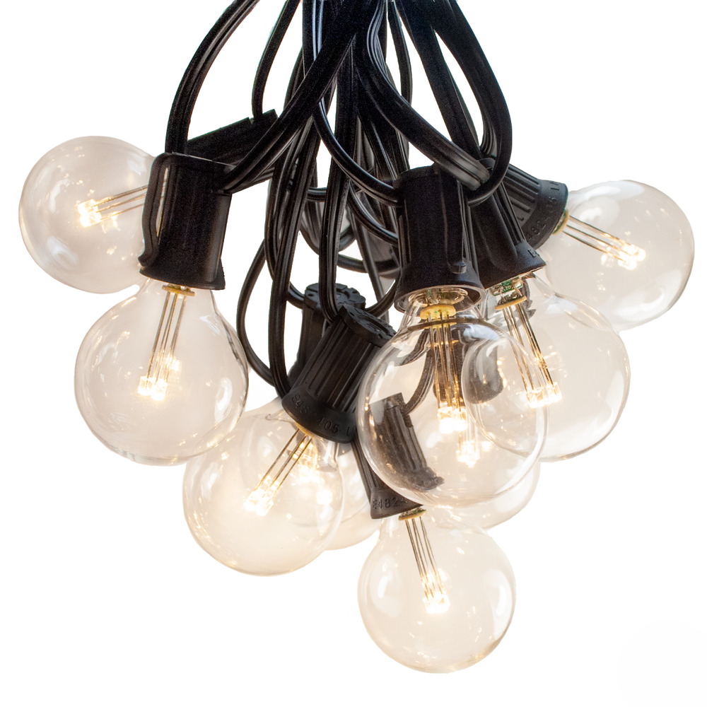 25 Foot LED Warm White Globe String Lights - Set of 25 G40 Clear LED Bulbs eBay