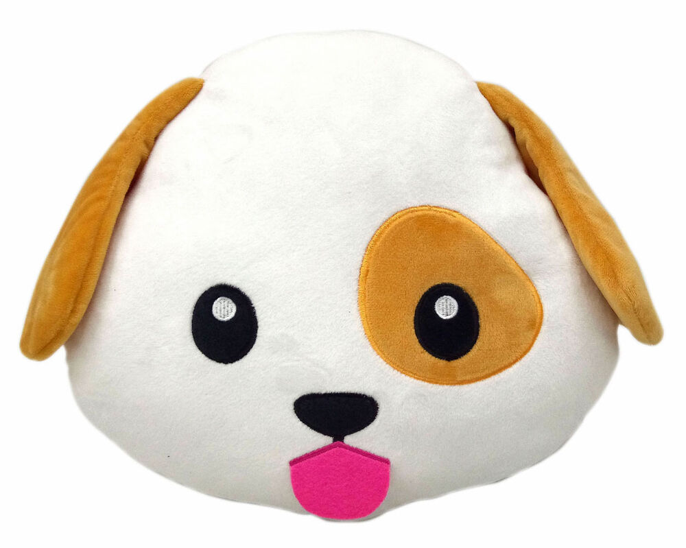 Dog Puppy Emoji Pillow Emoticon Cushion Soft Smiley 32cm