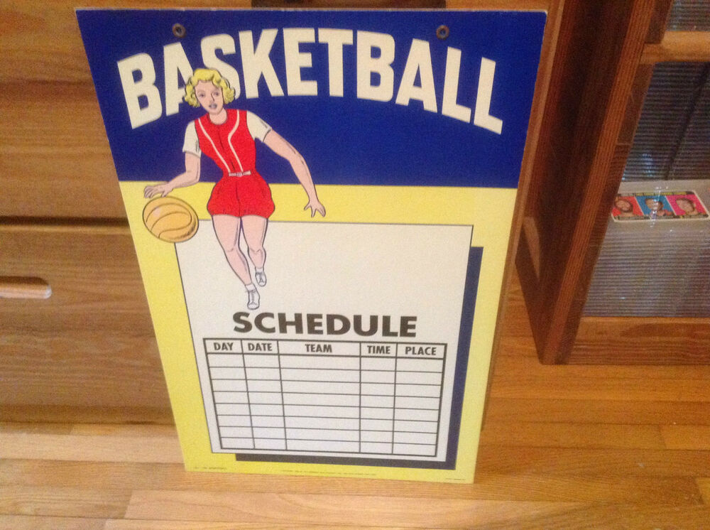 1950'S WOMENS BASKETBALL/ SCHEDULE ADVERTISING SIGN ...