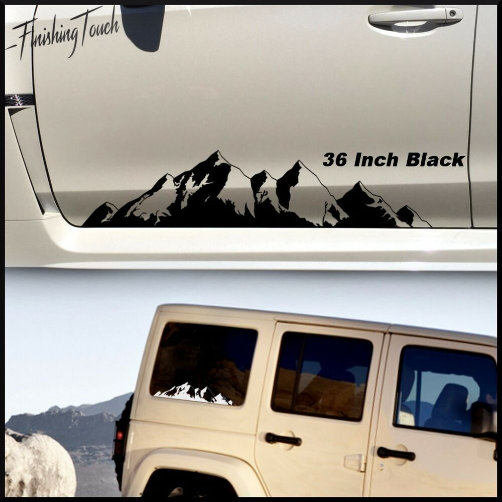 mountain range sticker decal graphics car truck jeep pnw jdm vinyl tree forest ebay. Black Bedroom Furniture Sets. Home Design Ideas