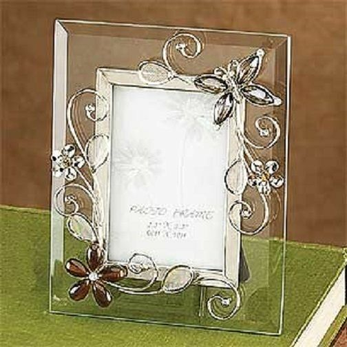 Charming butterfly amber crystal glass photo frame ebay
