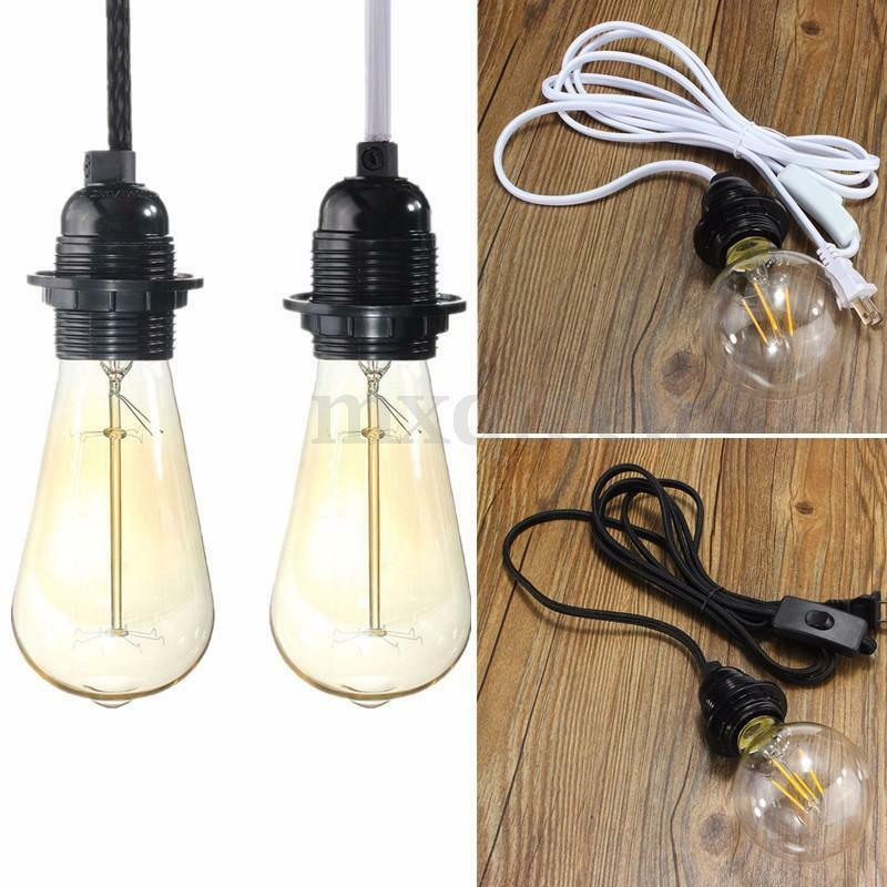 2 5m cord e27 e26 edison pendant light bulb socket wall us. Black Bedroom Furniture Sets. Home Design Ideas
