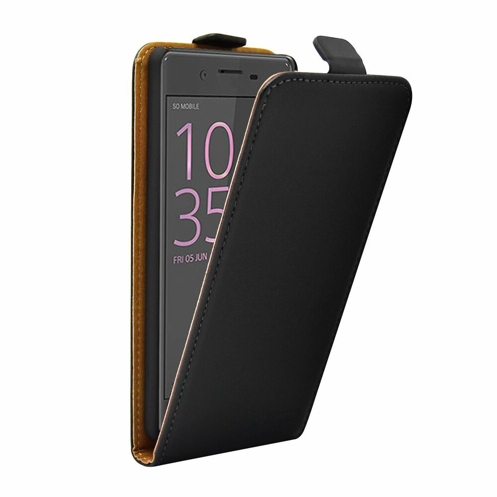 SLIM BLACK Leather Flip Case Cover Pouch For Sony Xperia XA (+2 FILMS ...