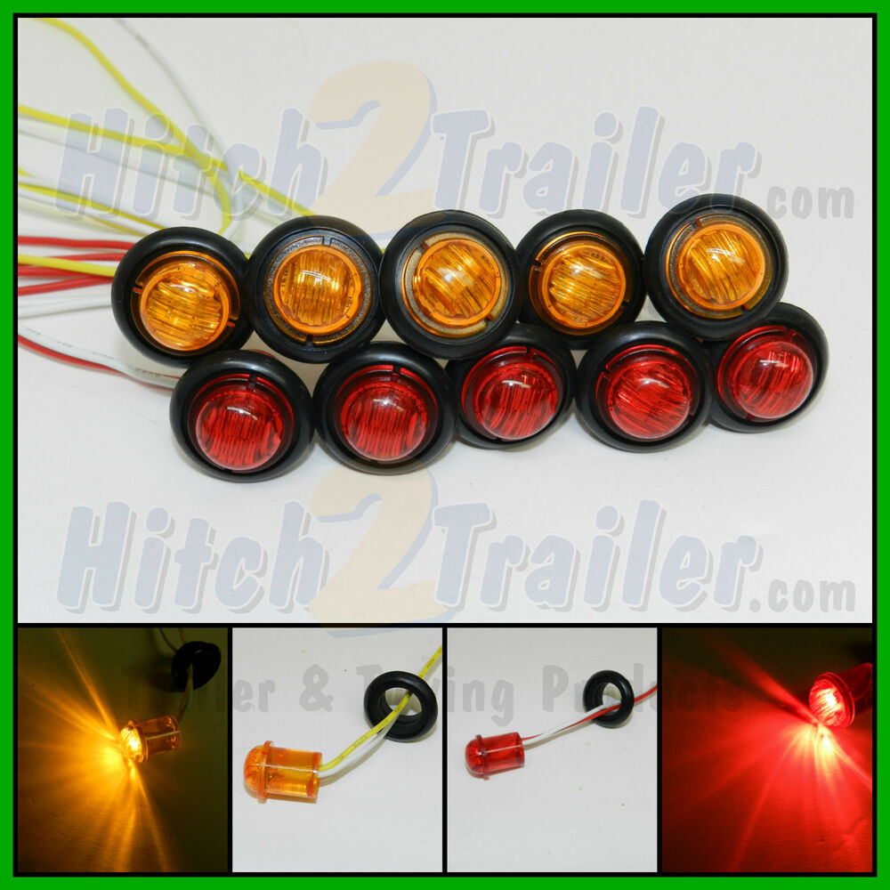10 New 3 4 Quot Red Amber 2 Led Clearance Marker Bullet