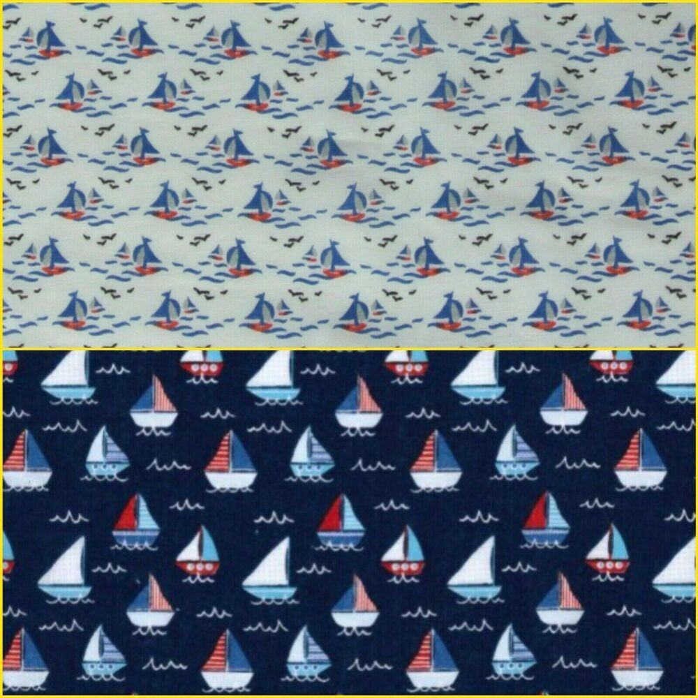 Polycotton boats fabric children 39 s red blue nautical for Children s furnishing fabrics