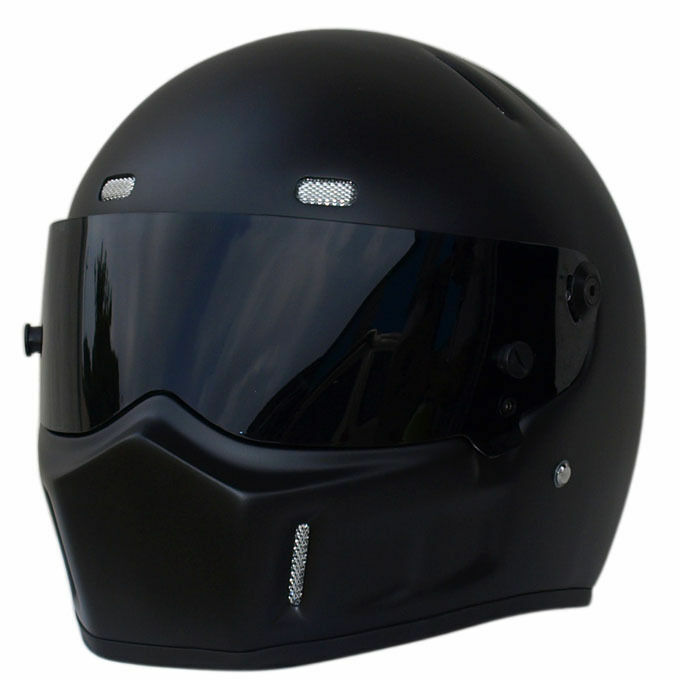 Street Racing Matt Black Motorcycle Bike Adult Helmet Full ...