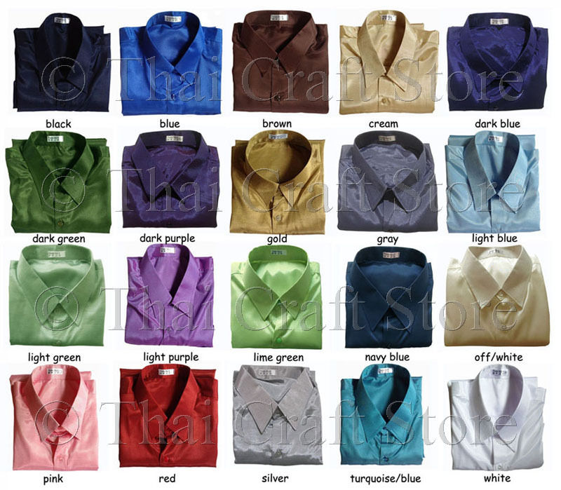 Mens Thai Silk Shirts Short Sleeve / S M L XL 2XL 3XL / 20 Colors ...