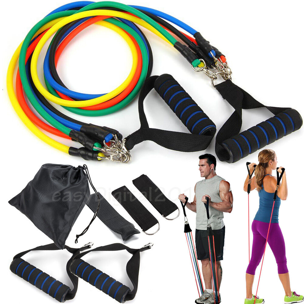 New Resistance Bands Workout Exercise Yoga 11 Piece Set