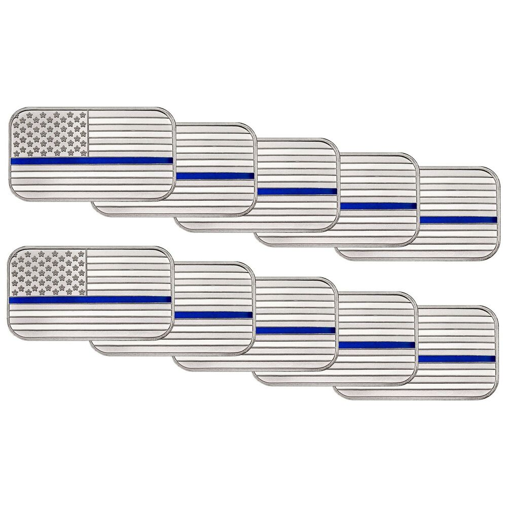 American Flag Blue Line 1 Ounce 999 Silver Bar Enameled