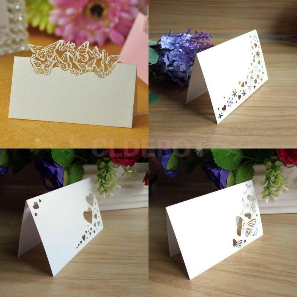 Wedding Table Place Card Ideas: 50pcs White Laser Cut Placecards Wedding Guest Party Name