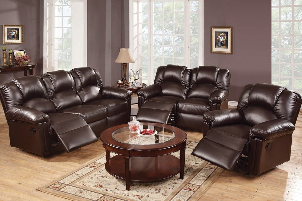 3 pcs espresso motion sofa set sofa loveseat recliner bonded leather furniture ebay. Black Bedroom Furniture Sets. Home Design Ideas