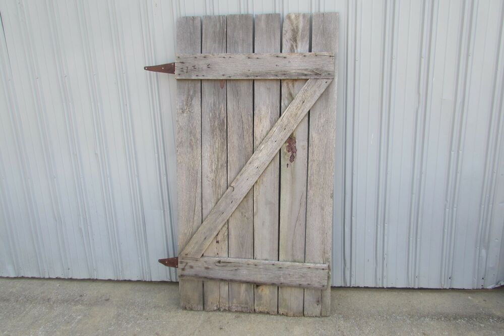 Antique vintage primitive weathered solid wood barn door for Vintage solid wood doors