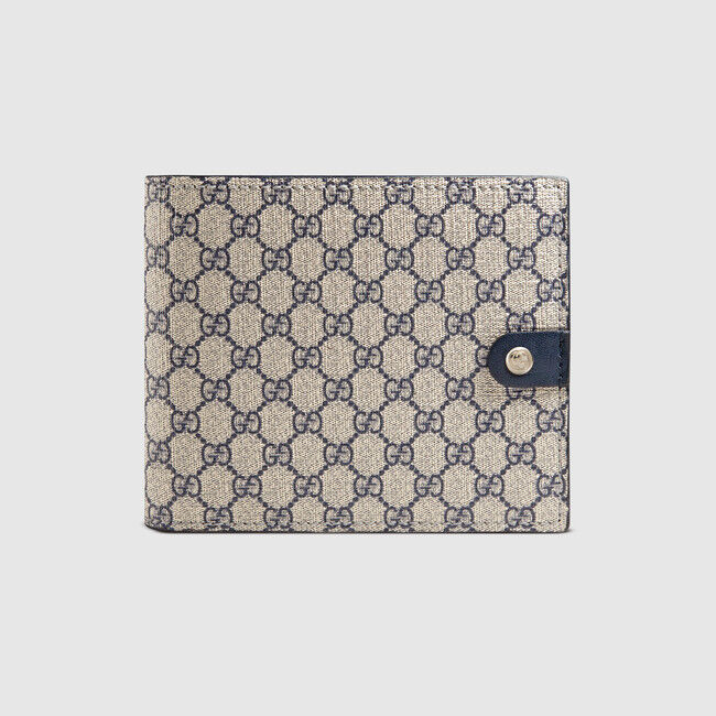 947f5978fa99 Details about SALE NWT GUCCI Men's classic blue micro GG supreme canvas  bifold wallet ITALY