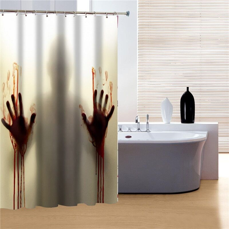 Psycho horror bloody shower scene shower curtain bathroom for Psycho shower curtain and bath mat